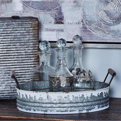 Distressed White Decorative Trays with Silver Accents (Set of 3)