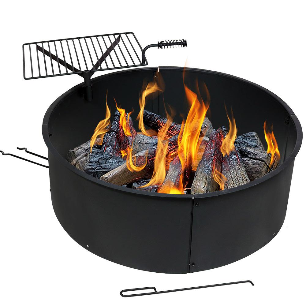 36 in. Round Steel Wood Burning Fire Pit Kit with Rotating
