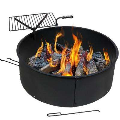 36 in. Round Steel Wood Burning Fire Pit Kit with Rotating Cooking Grate