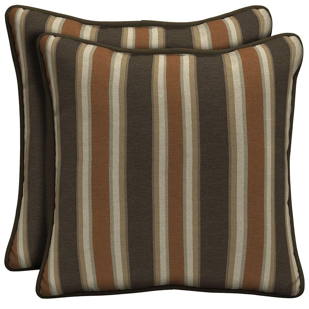Hampton Bay Scottsdale Stripe Welted Outdoor Throw Pillow (2-Pack)