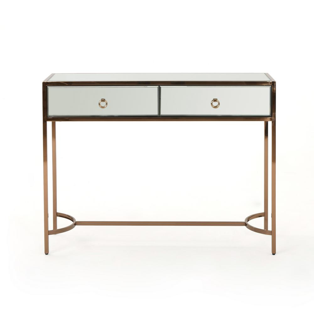 Arthur modern mirrored 2 drawer console table with rose gold stainless steel frame