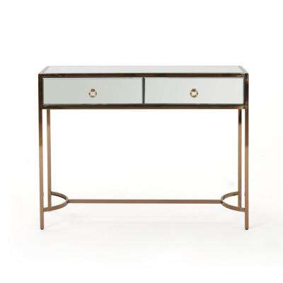 Arthur Modern Mirrored 2-Drawer Console Table with Rose Gold Stainless Steel Frame