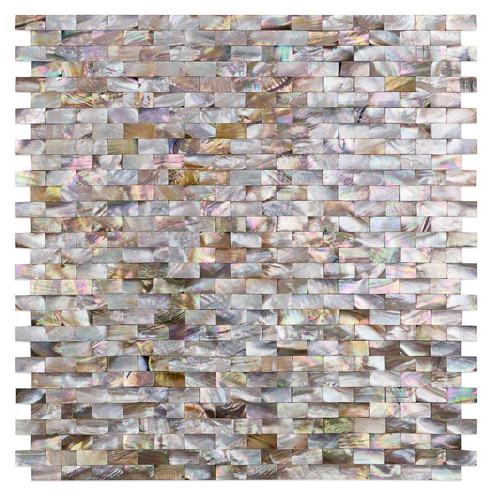 Lokahi Brume Gold Mini Brick 11-5/8 in. x 12 in. x 2 mm Pearl Shell Mosaic Tile