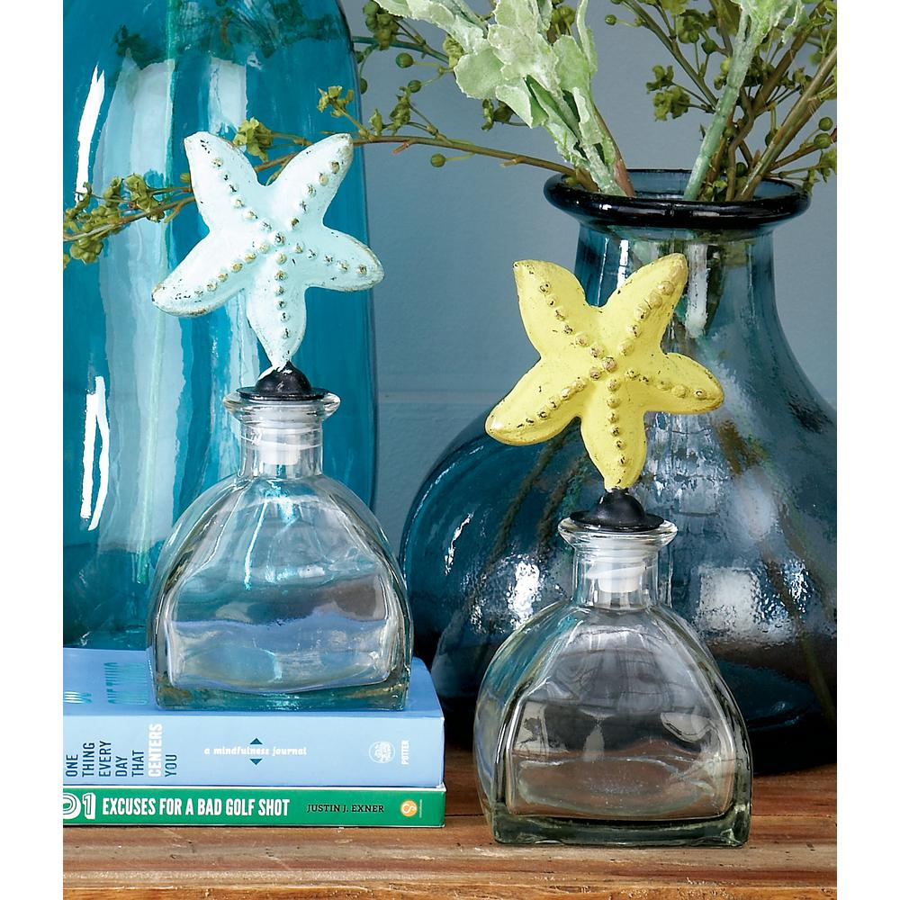 Clear Glass Bottles with Multicolored Starfish Stoppers (Set of 3)