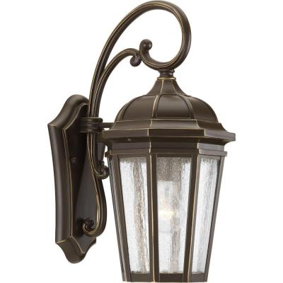 Verdae Collection 1-Light 17.75 in. Outdoor Antique Bronze Wall Lantern Sconce