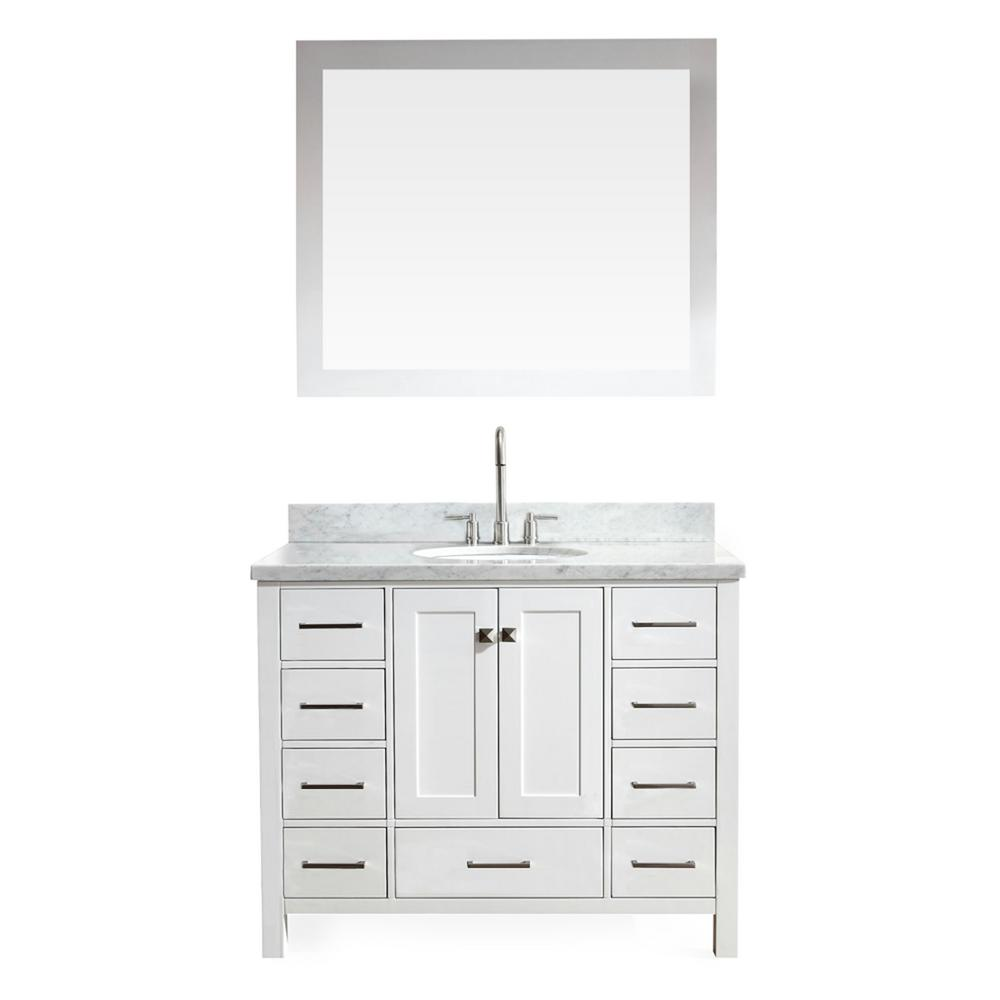 Ariel Cambridge 43 In Vanity In White With Marble Vanity Top In Carrara White With White Basin