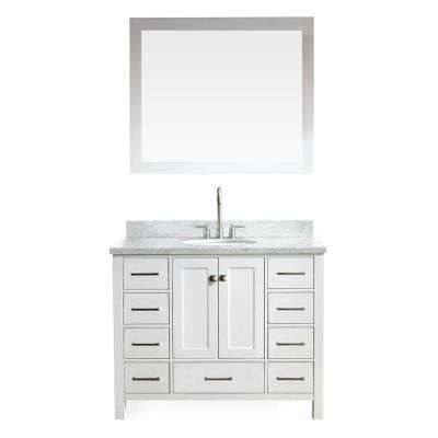 Cambridge 43 in. Vanity in White with Marble Vanity Top in Carrara White with White Basin and Mirror