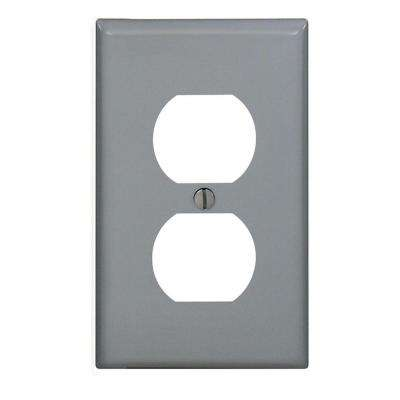 1-Gang Midway Duplex Outlet Nylon Wall Plate, Gray