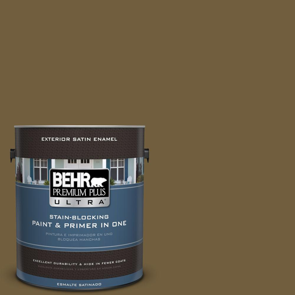 1-gal. #360F-7 Olive Shadow Satin Enamel Exterior Paint