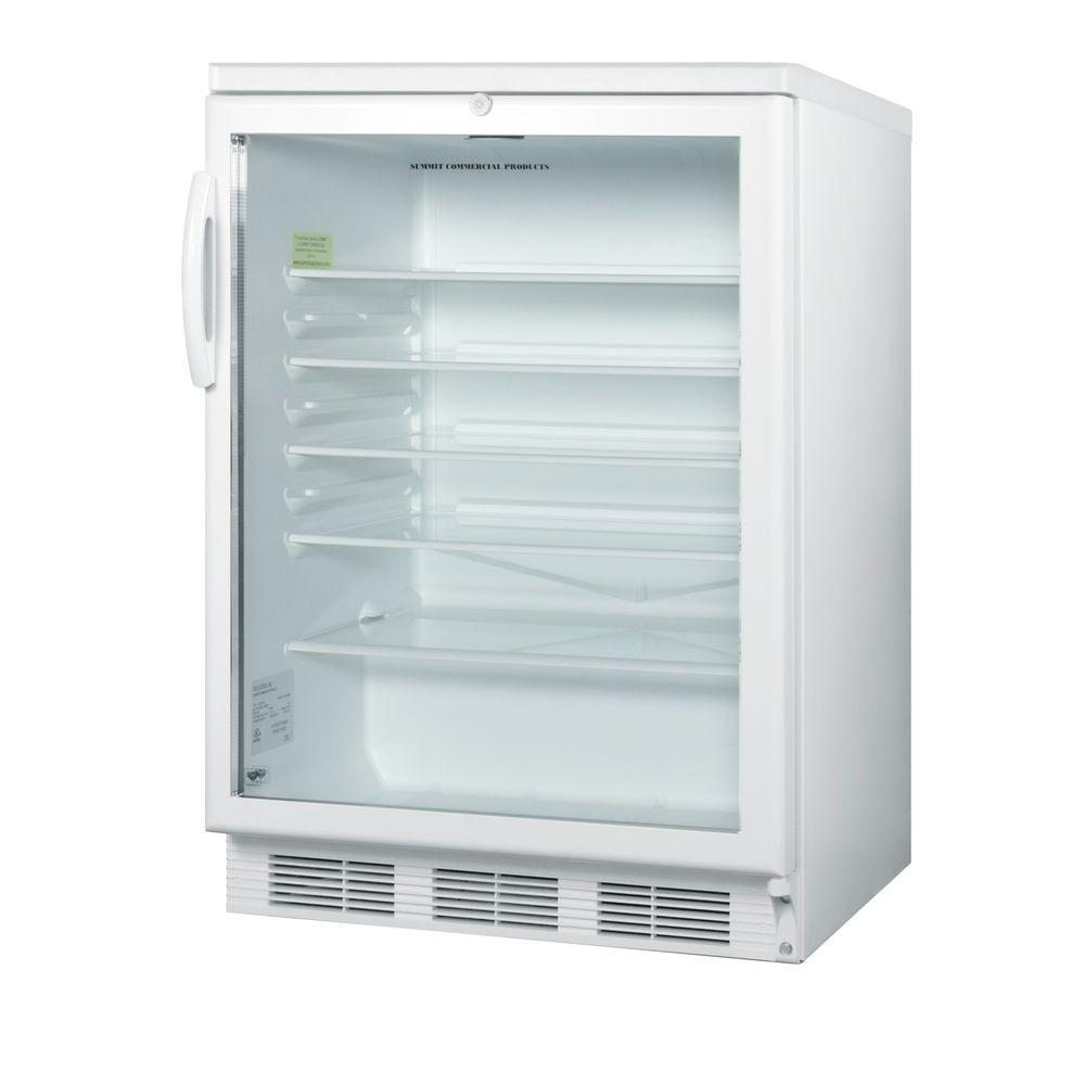Summit Appliance 5.5 cu. ft. Glass Door Mini Refrigerator in White with Lock