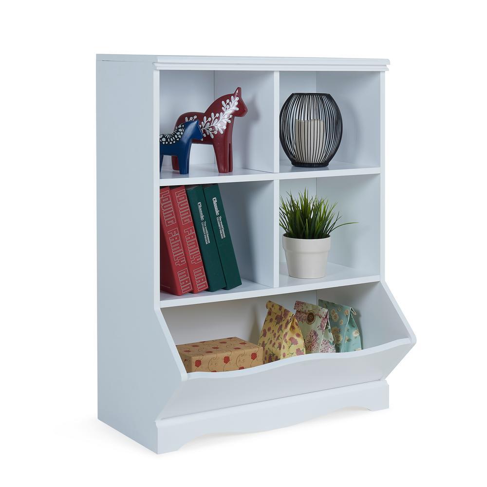 DANYA B Multi-Bin White MDF Storage Cubby Unit-BQ063 - The Home Depot