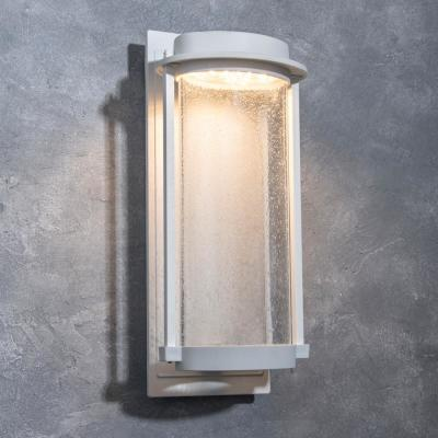 Coastal Newport White Outdoor Integrated LED Wall Lantern Sconce