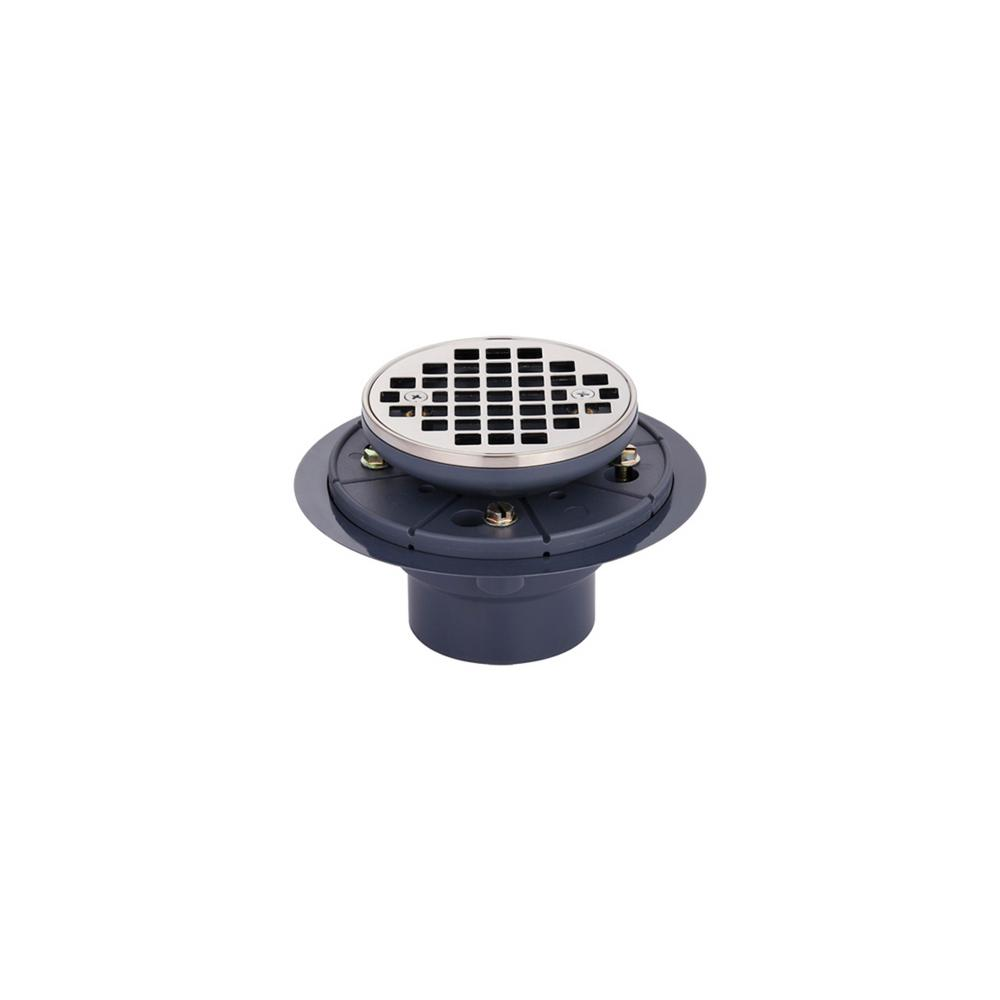 Brass and PVC Round Shower Drain and Strainer in Brushed Nickel