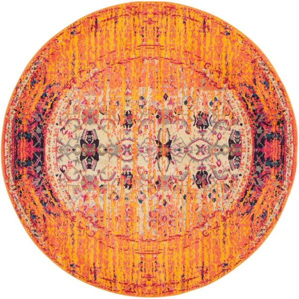 Monaco Orange/Multi 5 ft. x 5 ft. Round Area Rug