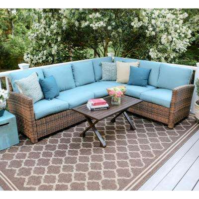 Dalton 5-Piece Wicker Outdoor Sectional Set with Blue Cushions