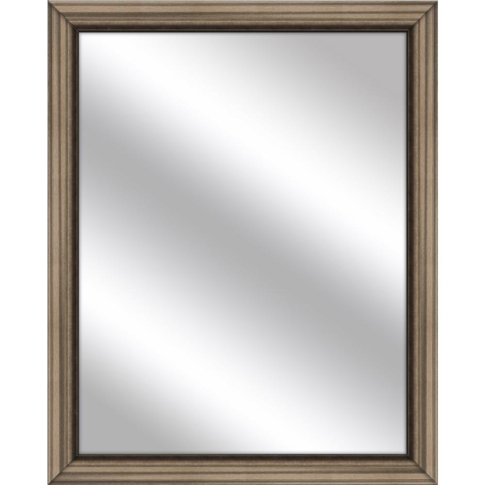Medium Rectangle Brown Art Deco Mirror (32.75 in. H x 26.75 in. W)