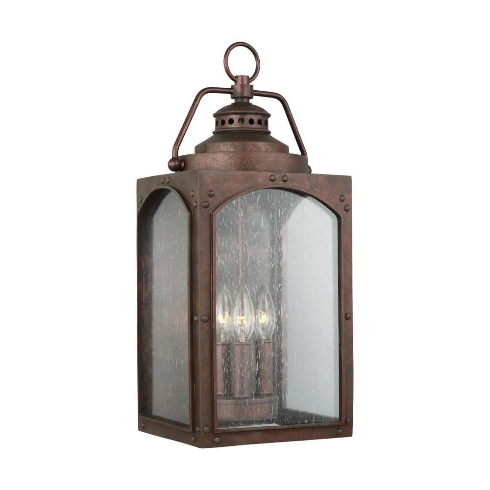 Feiss Randhurst 20 in. 3-Light Copper Oxide Outdoor Wall Mount Lantern