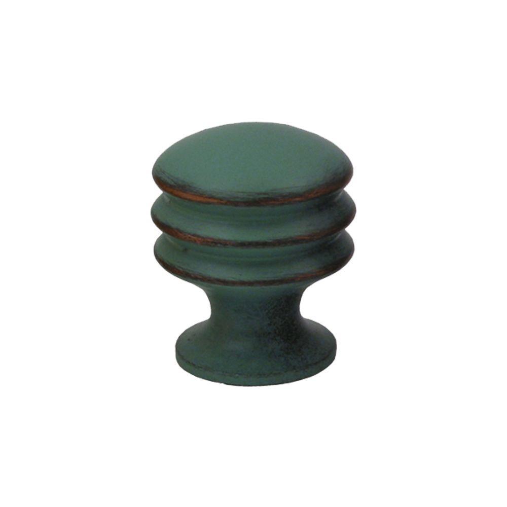 1 in. Antique Verde Solid Brass Round Knob