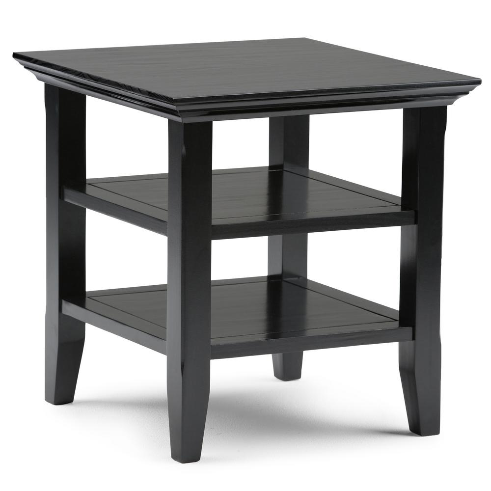 Acadian Solid Wood 19 In Wide Square Rustic End Table In Black