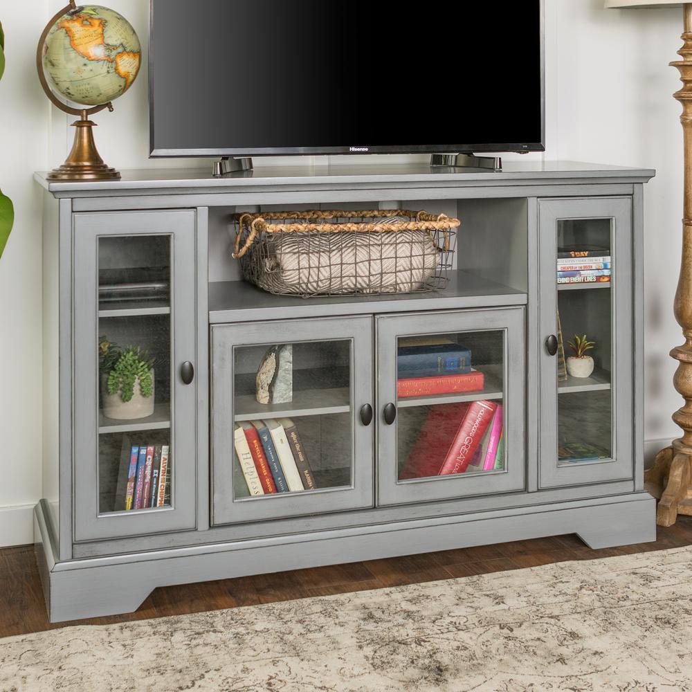Antique Grey Wood Highboy TV Media Stand Storage Console