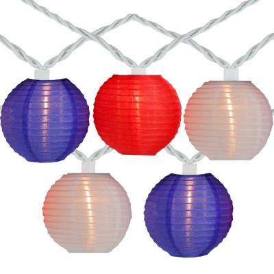 15 in. Red and Blue Round Chinese Lantern String Lights (Set of 10)