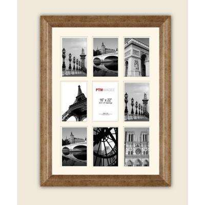 9-Opening 4 in. x 6 in. White Matted Champagne Photo Collage Frame