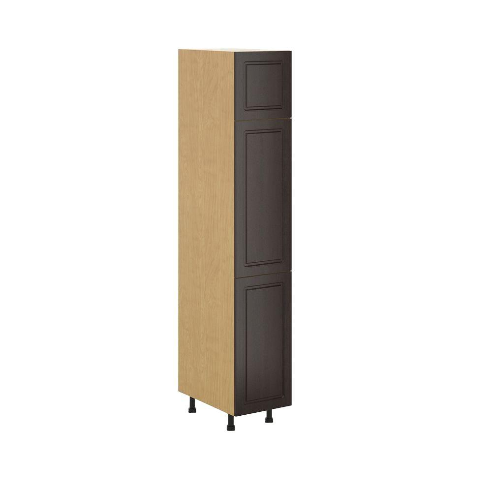 Fabritec Bern Ready to Assemble 15 x 83.5 x 24.5 in. Pantry/Utility Cabinet in Maple Melamine and Door in Dark Brown