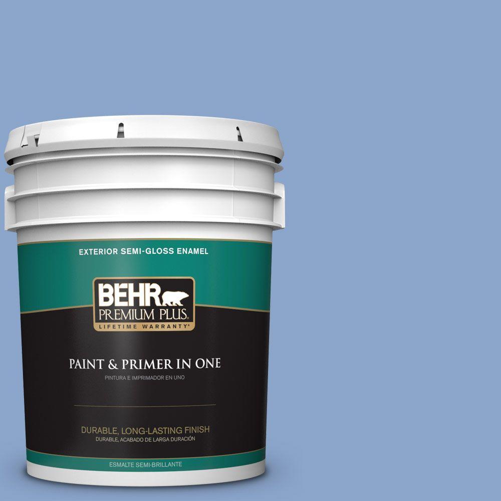 BEHR Premium Plus 5-gal. #590D-4 Romantic Isle Semi-Gloss Enamel Exterior Paint