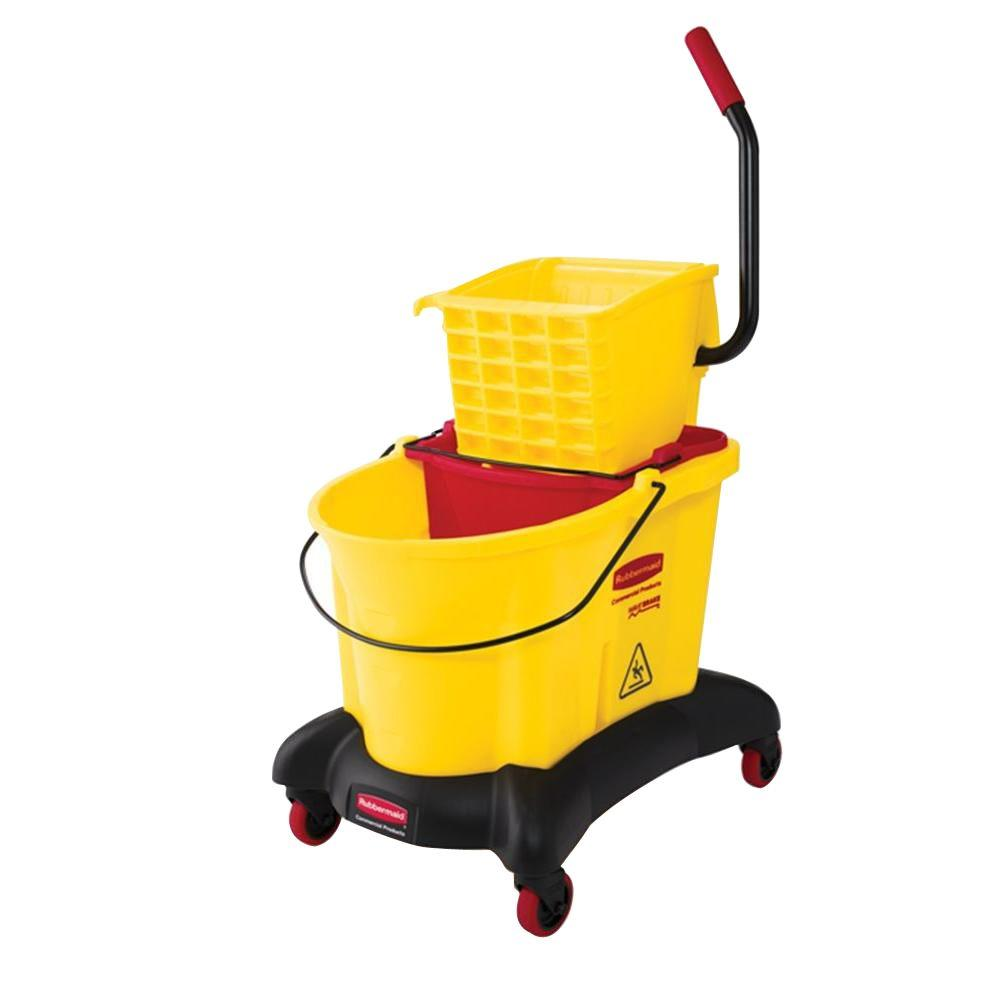 Rubbermaid Wave Brake 35 Qt. Dual Water Side-Press Wringer and Mop Bucket Combo with Quiet Dolly