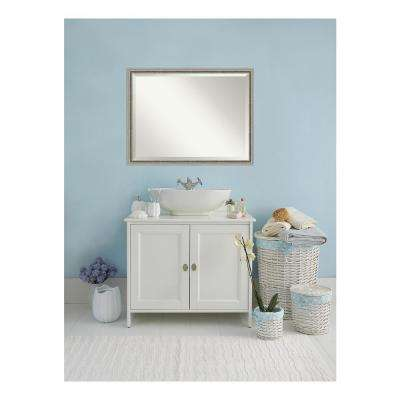 Bel Volto Silver Pewter Wood 43 in. W x 33 in. H Single Contemporary Bathroom Vanity Mirror