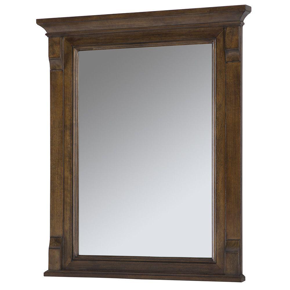 L Single Wall Hung Mirror In Walnut