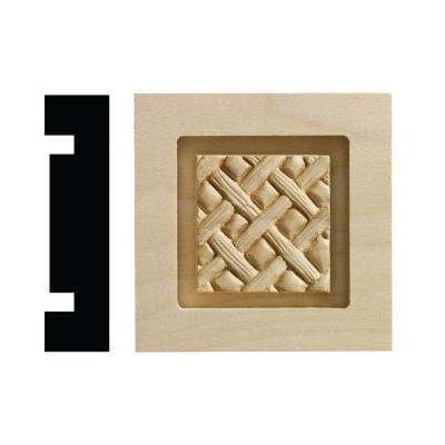 Loose Weave Collection 13/16 in. x 3-1/4 in. x 3-1/4 in. White Hardwood Casing Door and Window Corner Block Moulding