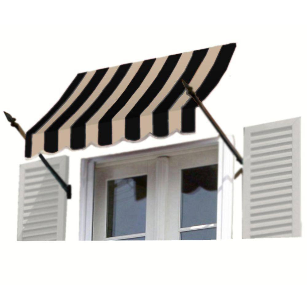 AWNTECH 8 ft. New Orleans Awning (44 in. H x 24 in. D) in Black/Tan Stripe