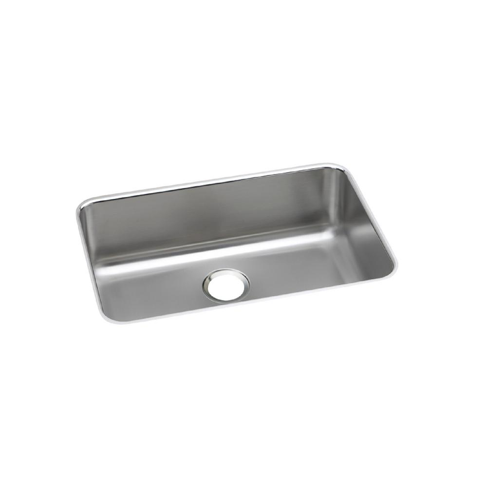 Lustertone Undermount Stainless Steel 27 in. Single Bowl Kitchen Sink