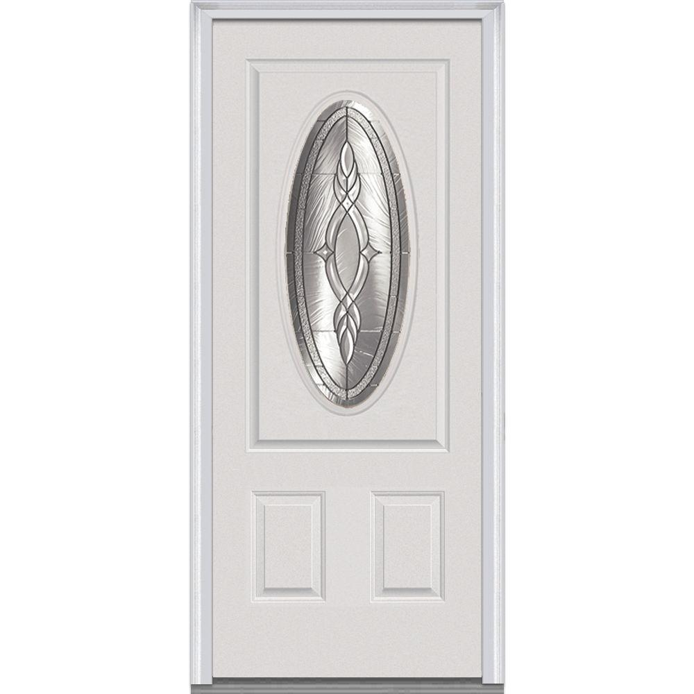 MMI Door 36 in. x 80 in. Brentwood Left-Hand 3/4 Oval Lite 2-Panel Classic Primed Fiberglass Smooth Prehung Front Door