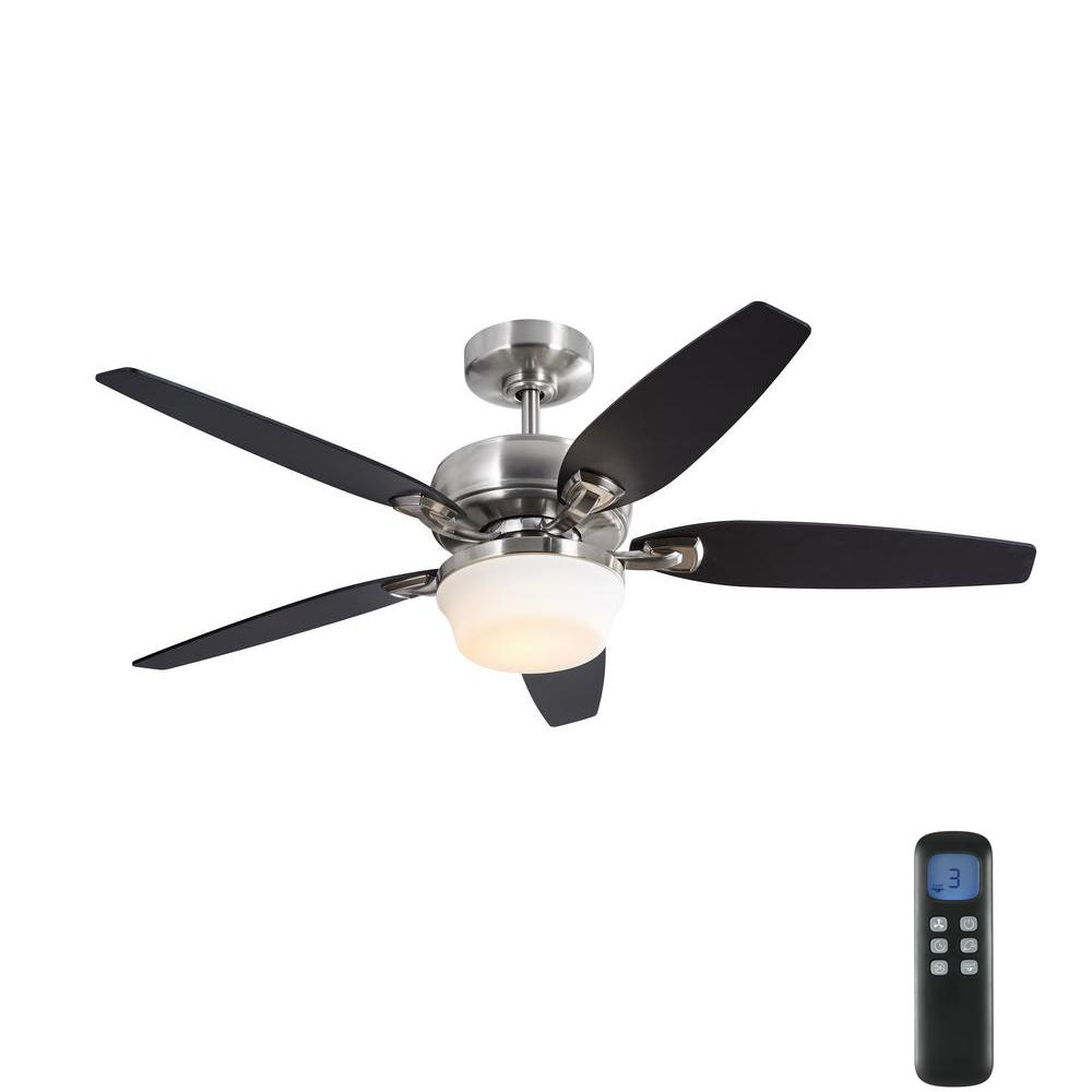 HomeDecoratorsCollection Home Decorators Collection Arrano 52 in. Integrated LED Indoor Brushed Nickel DC Ceiling Fan with Light Kit and Remote Control