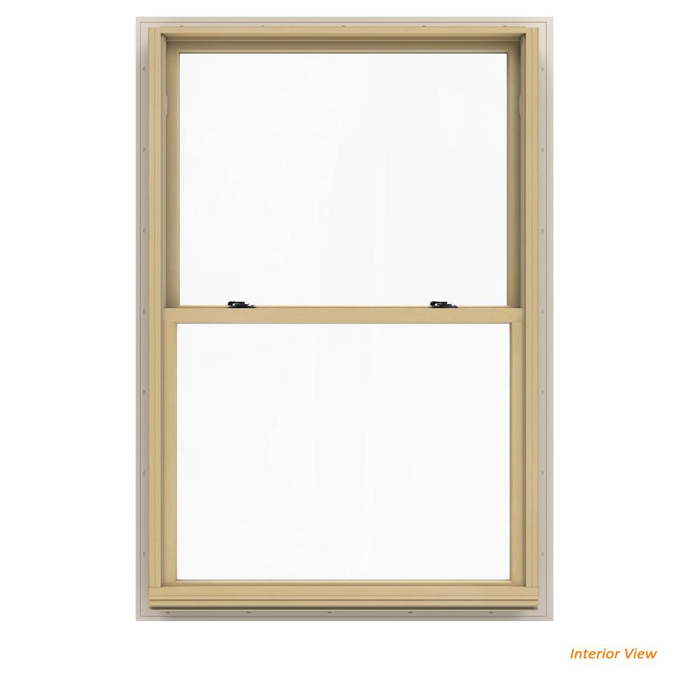JELD-WEN 37.375 in. x 56.5 in. W-2500 Series White Painted Clad Wood Double Hung Window w/ Natural Interior and Low-E Glass
