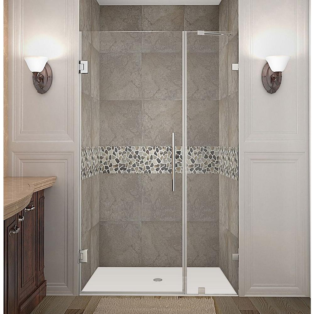 Nautis 38 in. x 72 in. Frameless Hinged Shower Door in