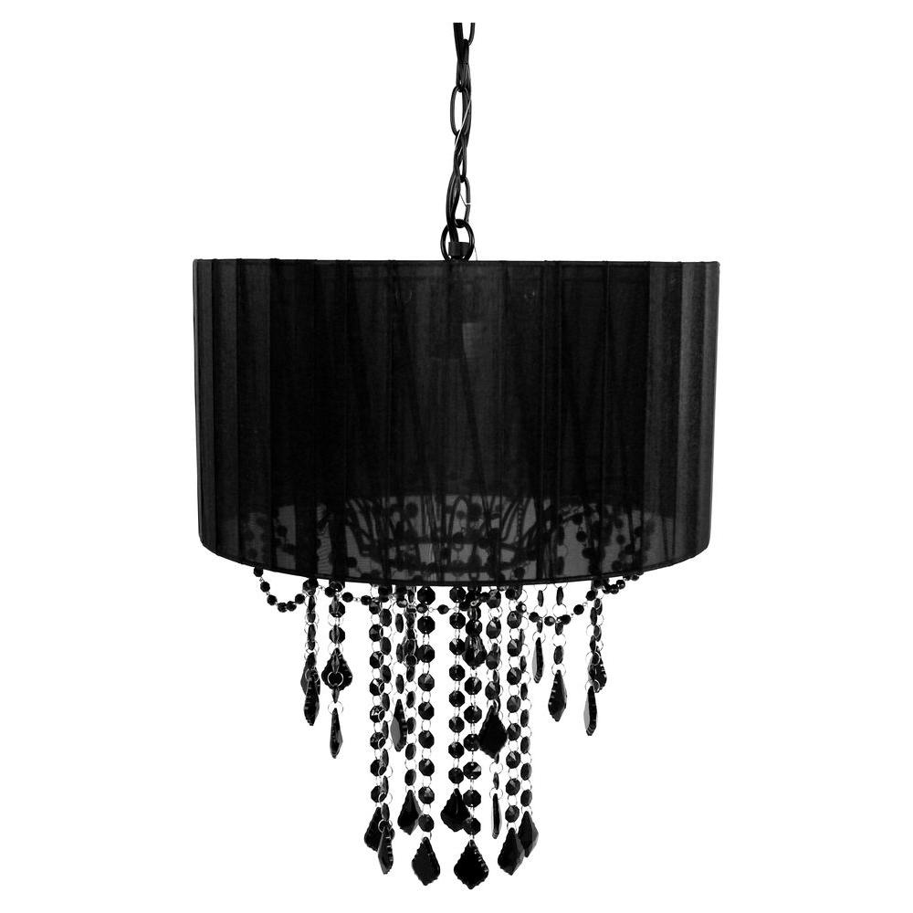Black hardwiredplug in chandeliers lighting the home depot 1 light black chandelier shade aloadofball