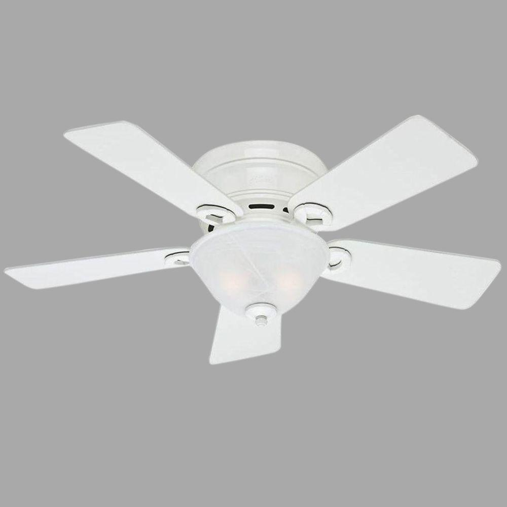 Indoor White Low Profile Ceiling Fan With Light Kit Bundled