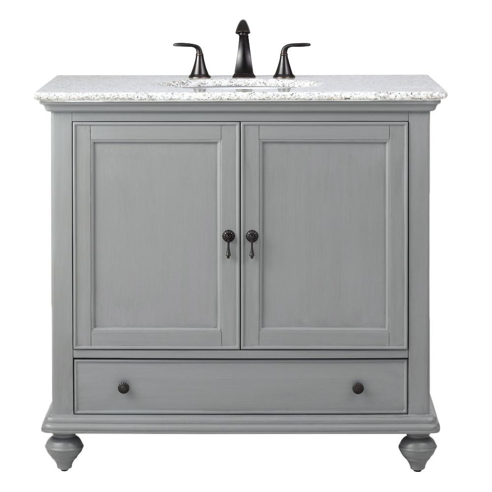 Home Decorators Collection Newport 37 In W X 21 1 2 In D Bath Vanity In Pewter With Granite Vanity Top In Grey 9085 Vs37h Pg The Home Depot