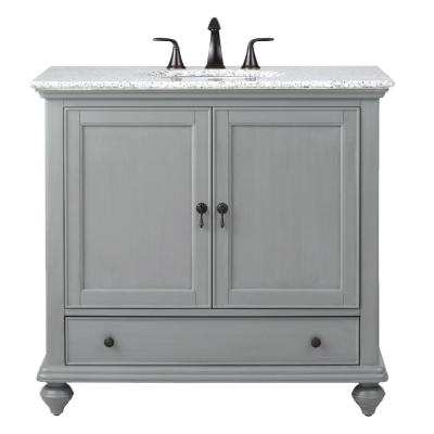 Newport 37 in. W x 21-1/2 in. D Bath Vanity in Pewter with Granite Vanity Top in Grey