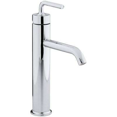 Beau Purist Tall Single Hole Single Handle Low Arc Bathroom Vessel Sink Faucet  With Straight Lever