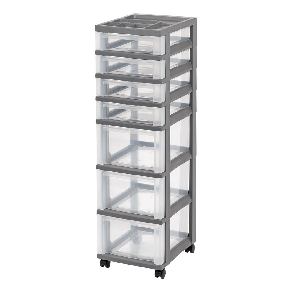 IRIS 12.05 In. X 42.125 In. Gray Medium 7 Drawer Storage Cart With