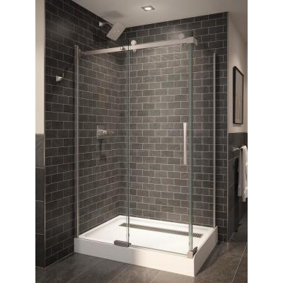 5/16 in. x 34-3/4 in. x 72 in. Frameless 1-Piece Direct-to-Stud Corner Shower Glass Panel in Stainless