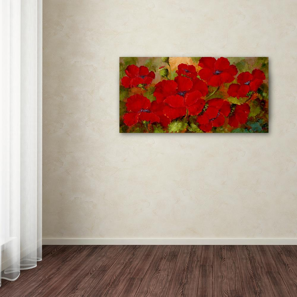 trademark fine art 24 in x 47 in poppies by rio printed canvas