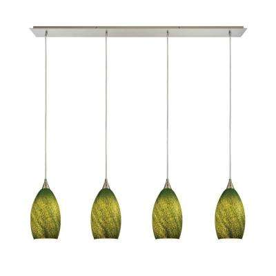 Titan lighting green cluster pendant lights lighting the earth 4 light satin nickel pendant with grass green glass mozeypictures Image collections