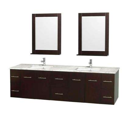 Centra 80 in. Double Vanity in Espresso with Marble Vanity Top in Carrara White, Square Sink and 24 in. Mirror