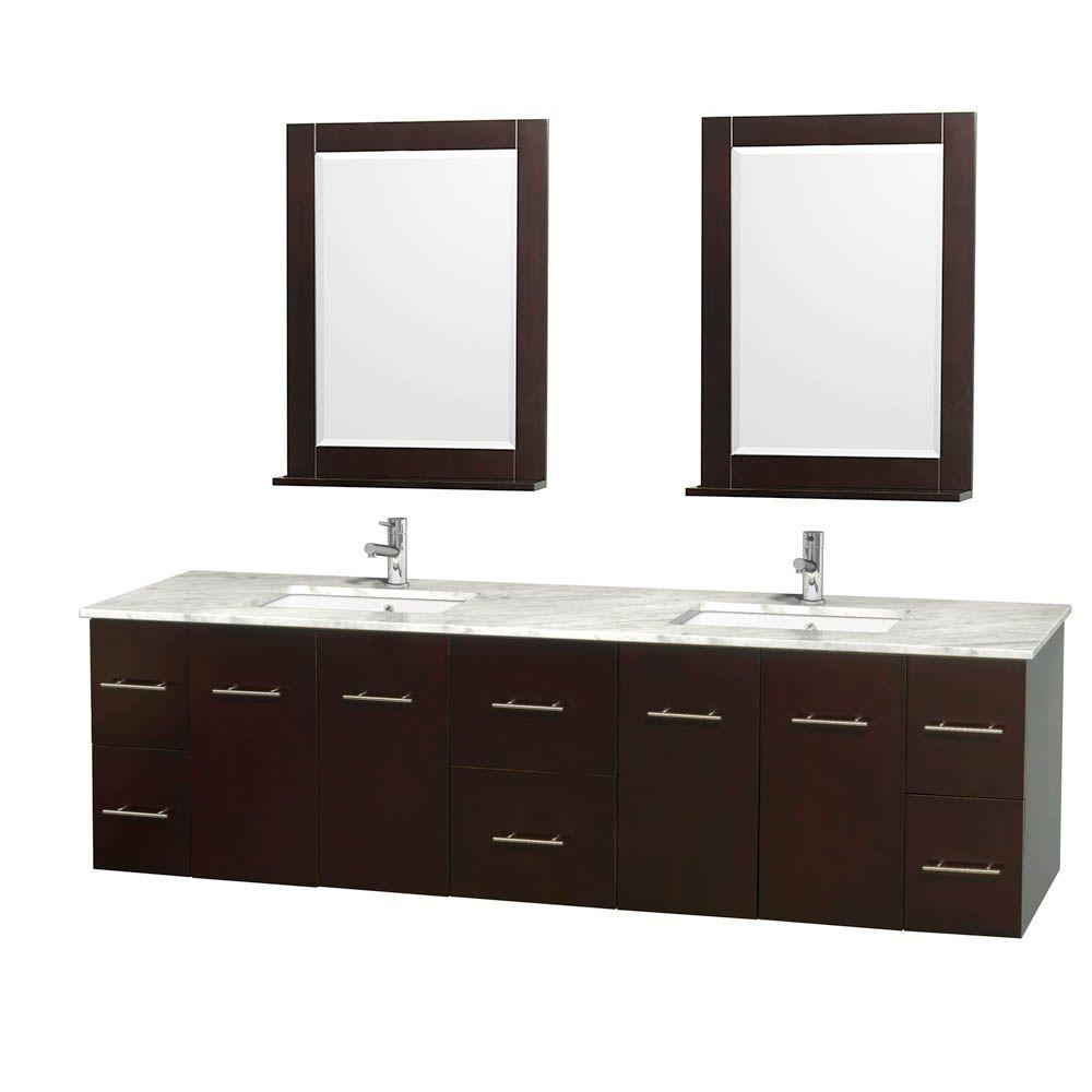 Centra 80 in. Double Vanity in Espresso with Marble Vanity Top
