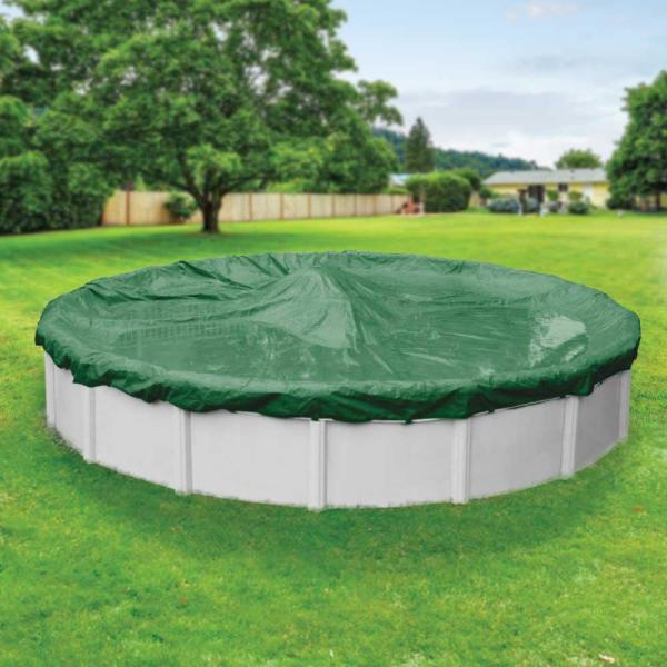 Titan 33 ft. Round Green Solid Above Ground Winter Pool Cover